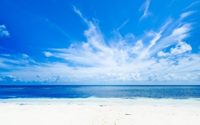 Картинка синева, пляж, тропики, небо, облака, природа, море