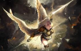 Обои небо, девушка, полет, тучи, ангел, меч, арт