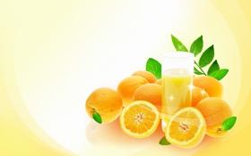 Обои оранжевый, настроение, листок, апельсин, ветка, арт, сок