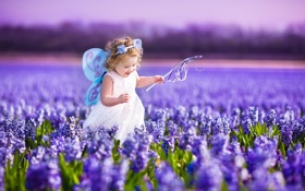 Обои поле, небо, цветы, природа, ребенок