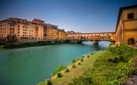 Обои мост, река, дома, Италия, Флоренция, Арно, Понте-Веккьо