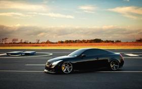 Картинка тюнинг, черная, автомобиль, инфинити, infiniti g37