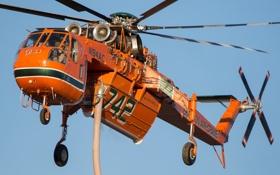 Картинка кран, большой, вертолет, воздушный, грузоподъемности, Sikorsky S-64, Erickson Air-Crane