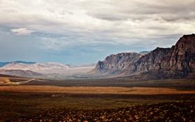 Обои небо, трава, облака, пейзаж, природа, скалы, каньон