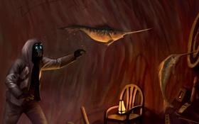 Картинка надписи, рыба, арт, стул, фонарь, светильник, снайпер