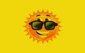 Обои солнце, желтый, улыбка, очки, smile, sun, светит