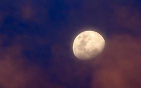 Картинка облака, звезды, Луна, небо