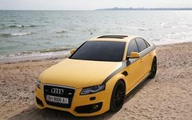Картинка песок, авто, пляж, вода, ауди, audi, тюнинг