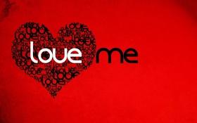 Обои Красный фон, Сердце, Love me, Любовь