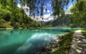 Обои облака, река, небо, Most na Soci, дорожка, Словения, берег