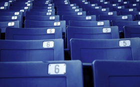 Обои синий, кресла, лавки, лавочки, скамейки, стулья, стадион