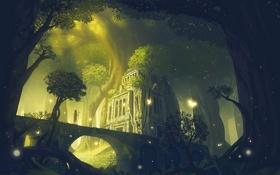 Картинка лес, деревья, бабочки, природа, корни, человек, аниме