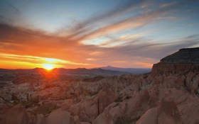 Картинка солнце, закат, горы, скалы, каньон