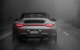 Обои Light, Carrera, Rain, Cabrio, Silver, Fog, Porsche 997.2