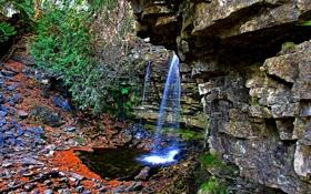 Обои ручей, камни, скалы, водопад