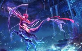 Картинка вода, девушка, звезды, ночь, оружие, русалка, аниме