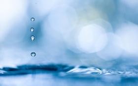 Картинка фото, капля, вода, боке, размытость, обои, фон