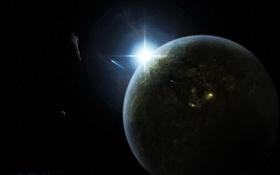 Картинка планета, восход, звездолеты, огни
