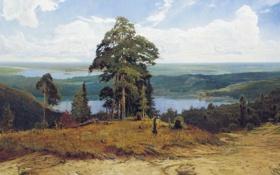 Картинка небо, деревья, пейзаж, природа, река, рисунок