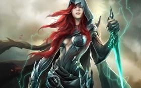 Картинка BattleCraft online, девушка, кинжалы, магия, арт, рыжая, капюшон