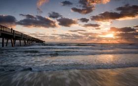 Обои море, волны, пляж, небо, вода, солнце, облака