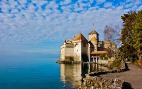 Обои небо, облака, озеро, замок, башня, Швейцария, Шильйон