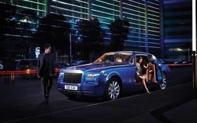 Обои девушка, ночь, синий, купе, Phantom, парень, Rolls Royce
