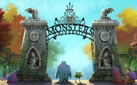 Обои монстры, вечеринка, Академия монстров, Mike Wazowski, Sulley, Monsters University