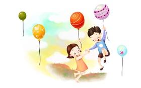 Обои дети, радость, шары