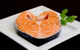 Обои тарелка, красная, рыба, еда, черный фон, fish