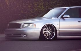 Обои Audi, ауди, тюнинг, серебристая, silvery, заниженная подвеска