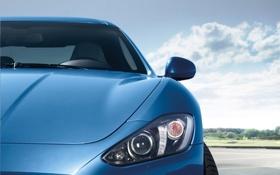 Картинка небо, синий, спорт, фары, Maserati, капот, суперкар
