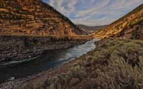 Обои горы, река, долина, Thompson