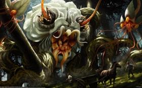 Картинка цветы, люди, лошадь, монстры, повозка, Liam Peters
