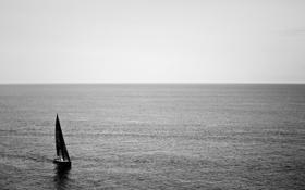 Картинка full hd, горизонт, небо, океан, парусники, вода, море