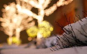 Обои снег, город, огни