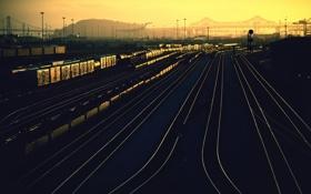 Картинка закат, станция, железная дорога