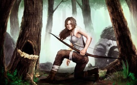 Картинка взгляд, девушка, деревья, поза, оружие, краски, слезы