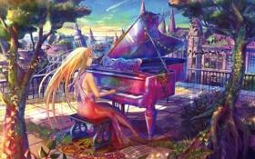 Обои девушка, деревья, город, ноты, рояль, балкон, пианино