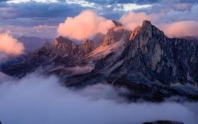 Картинка облака, пейзаж, закат, горы, природа