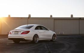 Обои белый, солнце, закат, Mercedes-Benz, white, блик, AMG