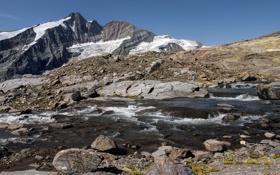 Картинка снег, горы, река, камни, скалы, высота, вершина