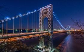 Картинка звезды, ночь, мост, город, огни, река, Нью-Йорк