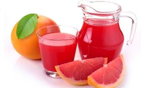 Обои стакан, сок, фрукт, цитрус, кувшин, грейпфрут, дольки
