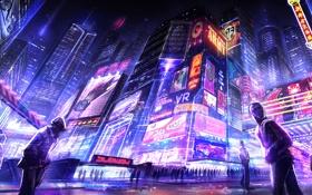 Обои город, улица, небоскребы, неон, вечер, арт, вывеска