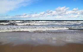 Картинка облака, пейзаж, лето, вода, волны, море, песок