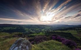 Картинка закат, пейзаж, гора, природа, камень