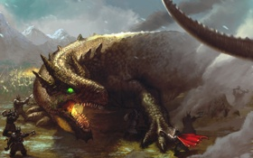 Обои дракон, гномы, битва, иллюстрация к книге, Tolkien, Dwarves of Belegost, Naugrim