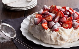 Обои ягоды, еда, клубника, торт, пирожное, cake, десерт