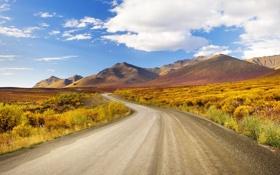 Картинка облака, вдаль, небо, дорога, кустарники, горы, повороты